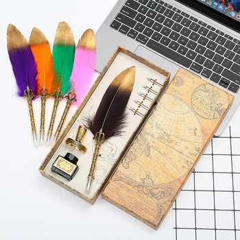 novel! Natural retro gold spray feather dipped pen set writing ink luxury gift box can be customized LOGO Christmas - discount item  37% OFF Pens, Pencils & Writing Supplies
