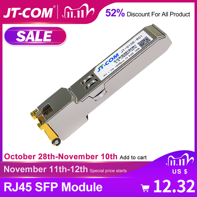 جيجابت RJ45 SFP وحدة 1000Mbps SFP النحاس RJ45 SFP مثبت جهاز إرسال واستقبال متوافق مع سيسكو/Mikrotik جيجابت محول ايثرنت