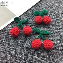 10 pçs algodão tricô lã folha verde cereja diy artesanato menina brincos pingente acessórios para o cabelo chapéu saco chaveiro decoração materiais