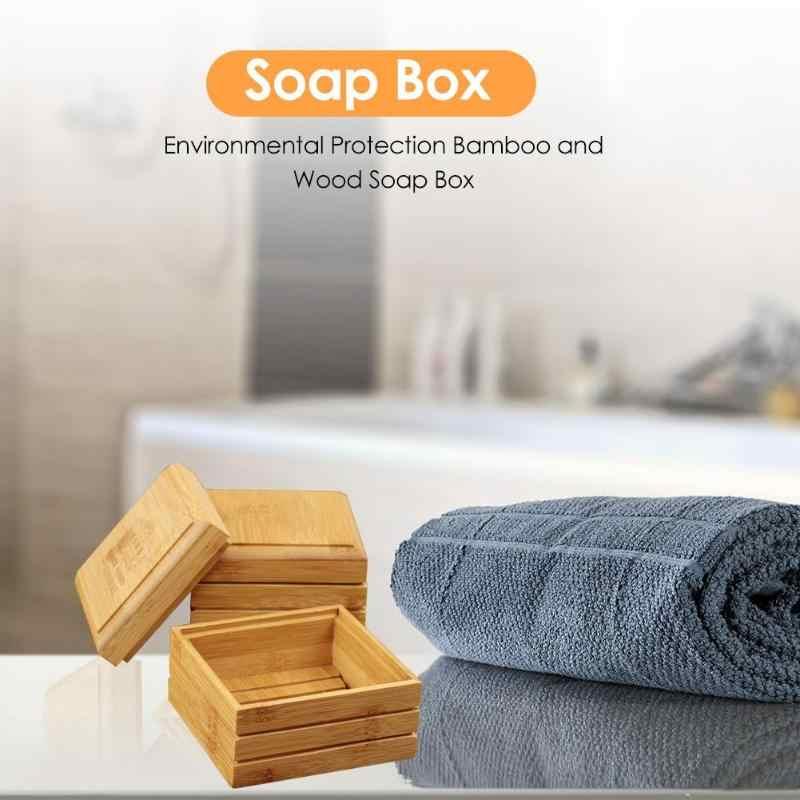 Ręcznie wykonane z drewna mydło bambusowe pudełko taca na naczynia przypadku łazienka Cleaner prysznic uchwyt na przyjazne dla środowiska pudełko na mydło Dropshipping