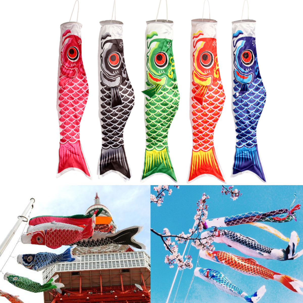 70cm Colorful Japanese Style Carp Windsock Streamer Fish Flag Kite Koi Nobori Koinobori  Home Party Decorations