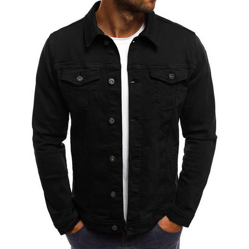2020 กางเกงยีนส์แจ็คเก็ต DENIM ผู้ชายแฟชั่นฤดูใบไม้ร่วง Slim แจ็คเก็ต Mens Casual DENIM Turn-Down COLLAR Streetwear