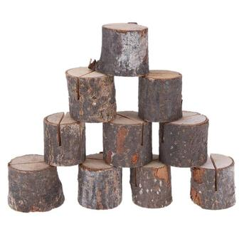 10 sztuk partia stos drewna nazwa karteczka z miejscem zdjęcie uchwyt na menu tabeli naturalne drzewo kształt pnia numer klip stojak dekoracja na przyjęcie ślubne tanie i dobre opinie CN (pochodzenie)
