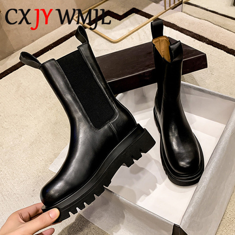 Genuine Leather Autumn Boots For Women Platform Chelsea Boot Spring Cowhide Booties Fashion Female Thick Bottom Black Bootie 41