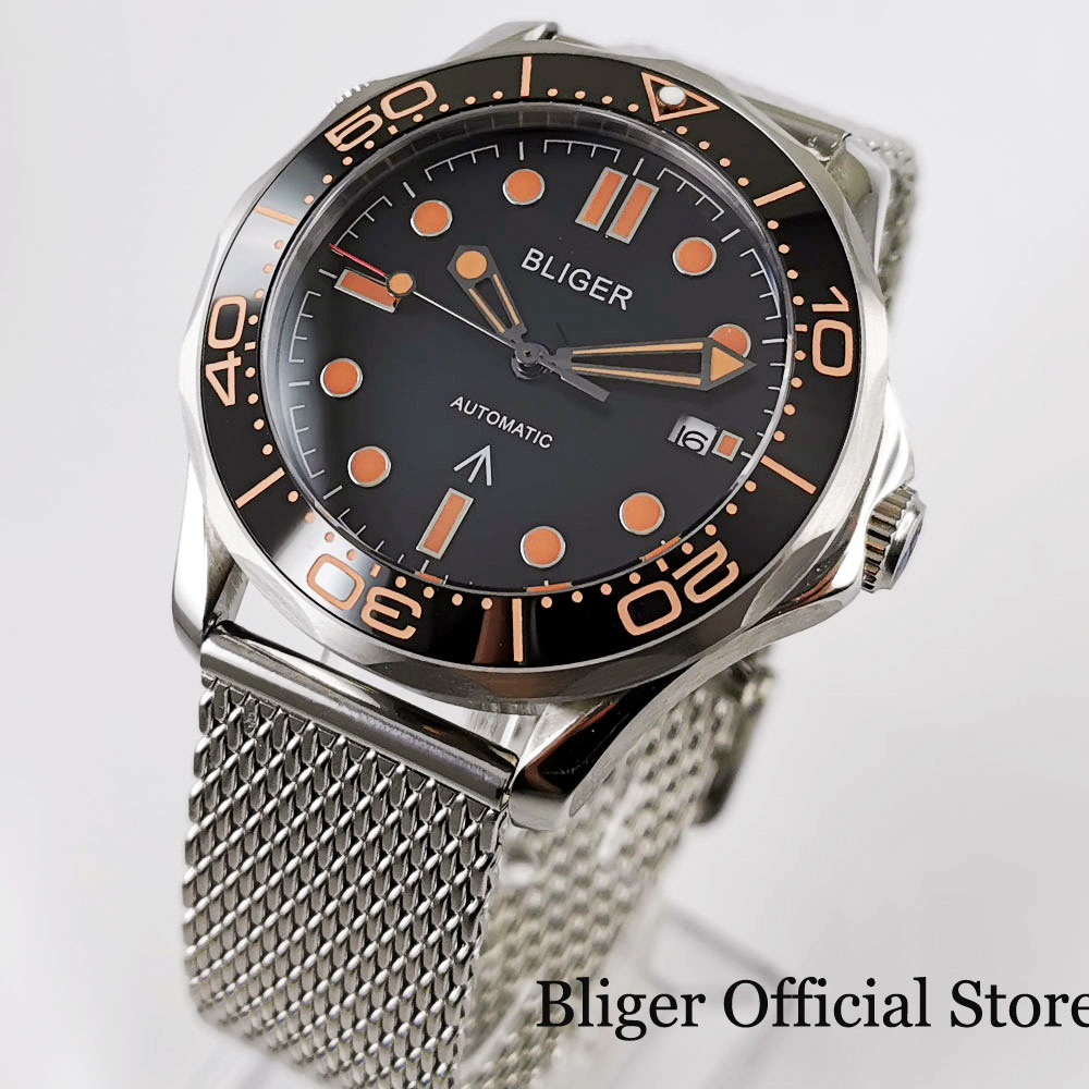 BLIGER New Arrival Mechanical Men Watch Sapphire Glass Date Window Mental Band Rotating Bezel