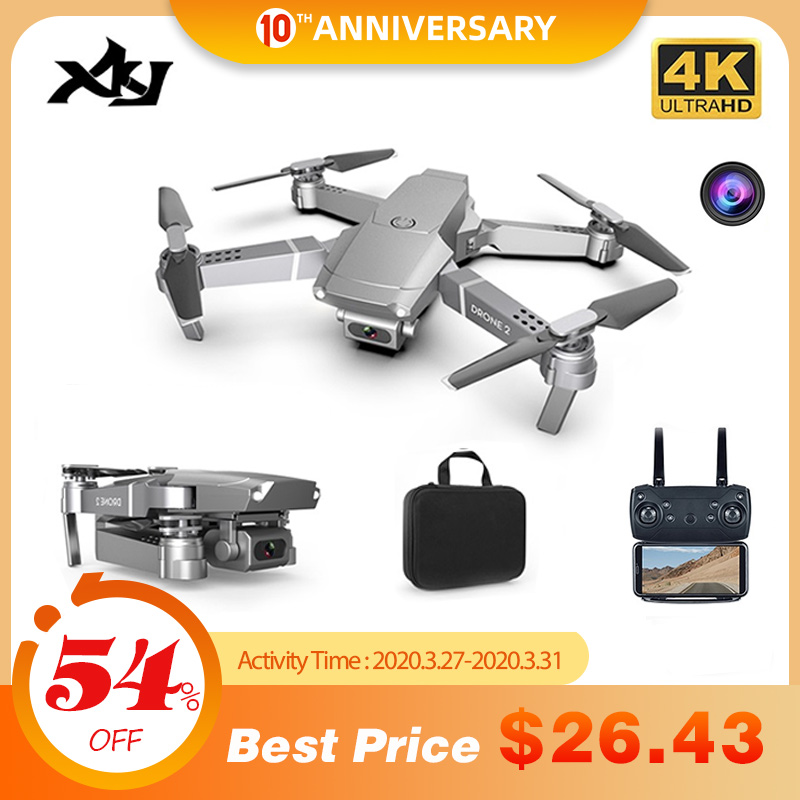 XKJ 2020 nuevo E68 WIFI FPV Mini Drone con gran angular HD 4K 1080P CÁMARA DE ALTO Modo de espera RC plegable Quadcopter Dron regalo HGIYI G11 GPS RC Drone 4K HD Cámara Quadcopter flujo óptico WIFI FPV con 50 veces Zoom plegable helicóptero Drones profesionales