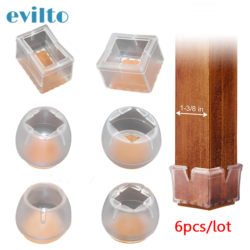 6pcs/Lot Silicone Table Leg Cover Non-slip Table Chair Leg Caps Wood Floor Protecters Pads Round Bottom Cover