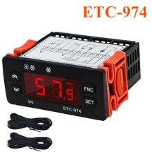 5pcs ETC-974 Mini Temperature Controller Refrigerator Thermostat Regulator Thermoregulator Thermocouple NTC Dual sensor 220V