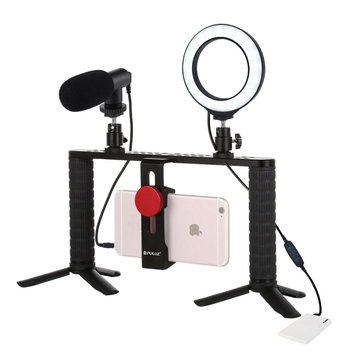 Dimmable LED Ring Vlogging Selfie Photography Video Lights Aluminum Bracket Kits with Microphone Tripod Makeup Youtube Live