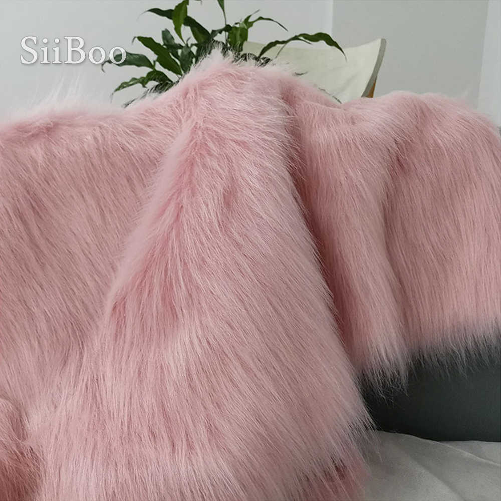 Różowy biały 7cm długie pluszowe sztuczne futro dla płaszcz kamizelka etap cosplay DIY akcesoria noworodka fotograficzne tissu 160*50cm SP5453