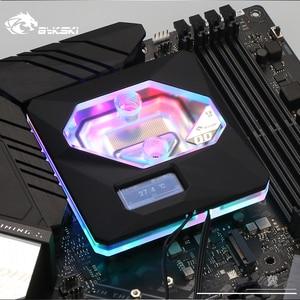 Image 1 - 인텔 lga1150/1151/1155/1156 용 bykski cpu 워터 블럭 사용 A RGB 오라 라이트/온도 디스플레이 oled/10 주년 기념 블록