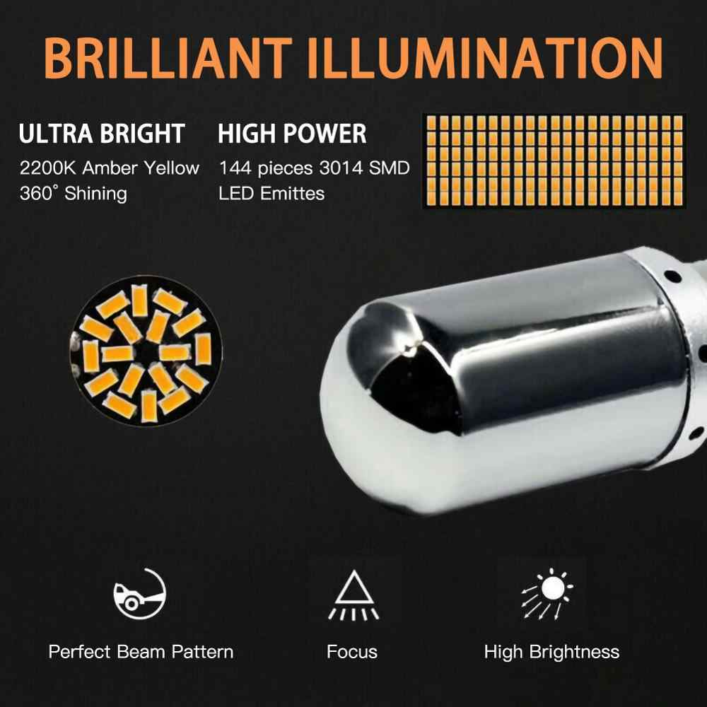 Vente 2 pièces ensemble Chrome 7440 T20 ambre Canbus sans erreur lampe à LED ampoule clignotant en gros livraison rapide livraison directe