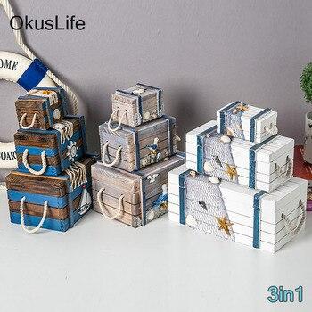 3in1Mediterranean wooden storage box Home decoration jewelry box 3 Sizes Marine Seabird starfish Nets Shell Baby Room Gift