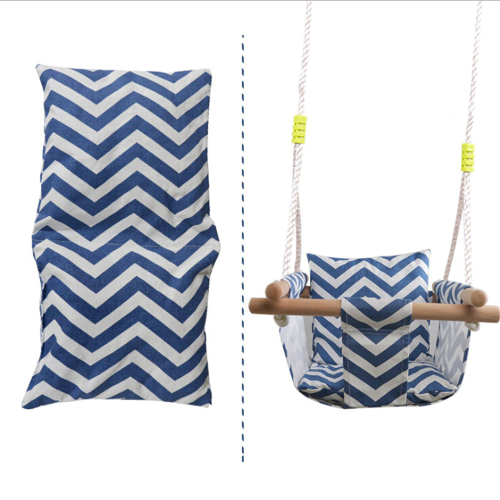 Baby Swing Hammock Seat Canvas Hanging Chair with Cushion Toddler Outdoor Indoor Wooden Swing Rocker Toy for Toddler Baby toys|Playground| |  - title=