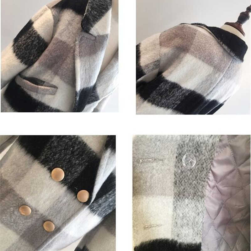 2019 Новое модное длинное шерстяное пальто женское корейское осенне-зимнее шерстяное пальто с длинным рукавом черно-белая клетчатая куртка повседневное женское пальто