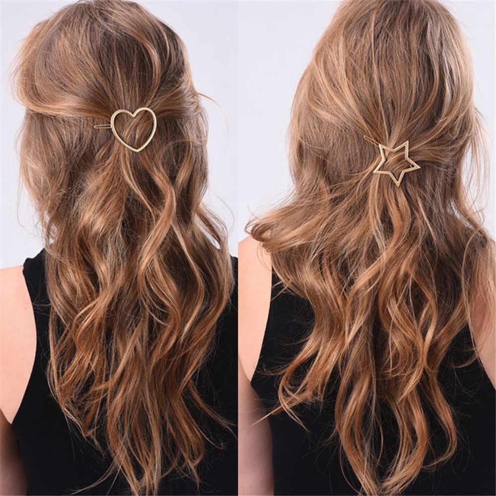 1 個メタルトライアングル女性のためのガールズ幾何合金ヘアピンムーンサークルヘアピンバレッタ髪の宝石