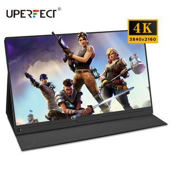 """UPERFECT-Monitor de ordenador 4K, pantalla de 15,6 """"para videojuegos, portátil, con USB, Monitor C de 3840x2160 UHD, con soporte, funda inteligente para el cuidado de los ojos"""