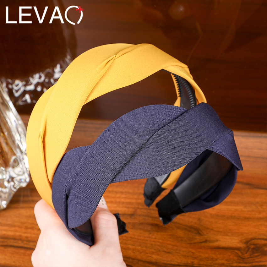 Levao 2019 New Style S-shaped Female Hairbands For Outdoor Solid Cross-Criss Wide Plastic Hairbands For Women Hair Accessories