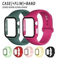 Glas + Strap für Apple Uhr band 44mm 40mm 38mm 42mm Screen Protector + Fall + gürtel Zubehör Armband iWatch serie 6 5 4 3 se 40