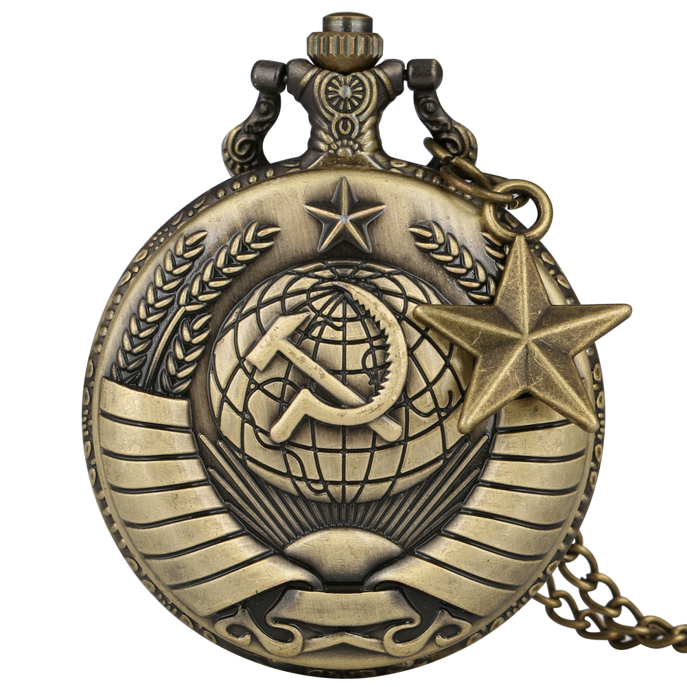 Ussr Pocket Watch For Men Soviet Union Symbol Of Communism Pendant Watches Necklace Slim Chain Cccp Clock Accessory Gift