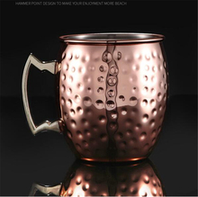 2pc Copper Moscow Mule Mugs 550ml 18 Ounces Hammered Black Plated Mug Ice Beer Cup Coffee Water