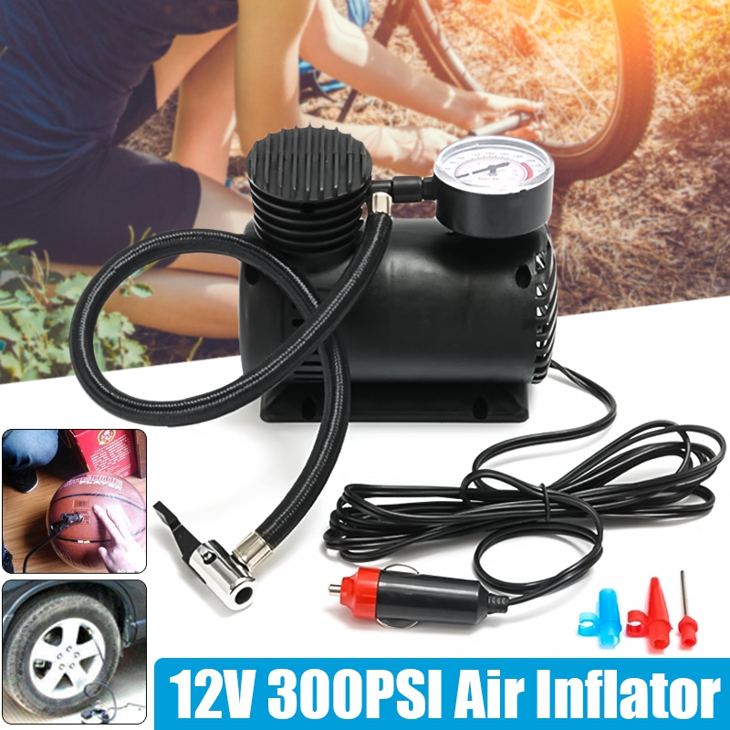 DC 12V 300Psi Car Tire Inflator Auto Portable Air Compressor Pump Tyre Inflator Electric Portable Pressure Pump Rubber Dinghy