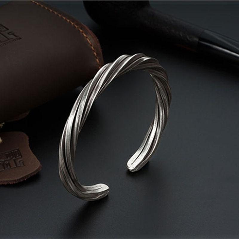 Fyla Mode femmes hommes 999 en argent Sterling torsadé bracelet fait à la main Vintage Thai argent ouvert bracelet bijoux WT028 - 6