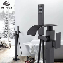 Uythner Floor Mounted Bathtub Faucet Set Black Bath Tub Faucet Hot and Cold Water Shower Bathtub Mixer Tap Waterfall Floor Stand