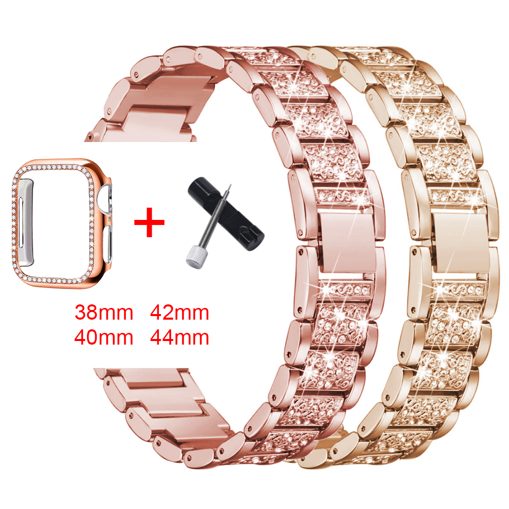 Band + Case Metal Strap For Apple Watch Series 5 Strap 40mm 44mm Diamond Ring 38mm 42mm Stainless Steel Bracelet iwatch 4/3/2/1 image