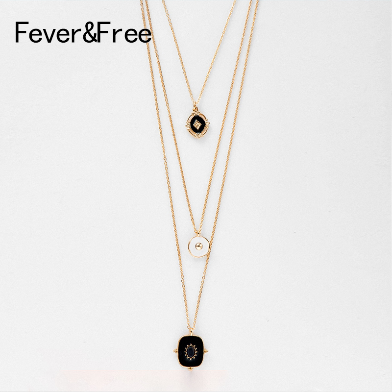 Fever&Free Vintage Black Pendant Necklace Long Chain Multi Layer Charm Statement Necklace For Women Trend Jewelry Wholesale Gift