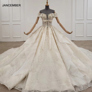 Image 1 - HTL1249 2020 sparkly งานแต่งงานชุดปิดไหล่แขนสั้นประดับด้วยลูกปัด applique โบว์ Petite งานแต่งงานชุด платье на выпускной