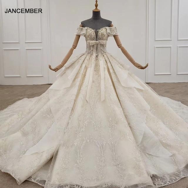 HTL1249 2020 sparkly งานแต่งงานชุดปิดไหล่แขนสั้นประดับด้วยลูกปัด applique โบว์ Petite งานแต่งงานชุด платье на выпускной