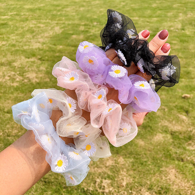 2020 Summer Mesh Chiffon Flower Scrunchie Women Girls Elastic Hair Rubber Bands Accessories Tie Hair Ring Rope Holder Headwear