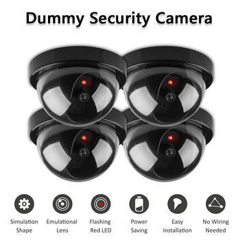 Поддельная беспроводная камера видеонаблюдения, Муляж купольной камеры для помещений и улицы с мигающим красным светодиодом для домашней ...