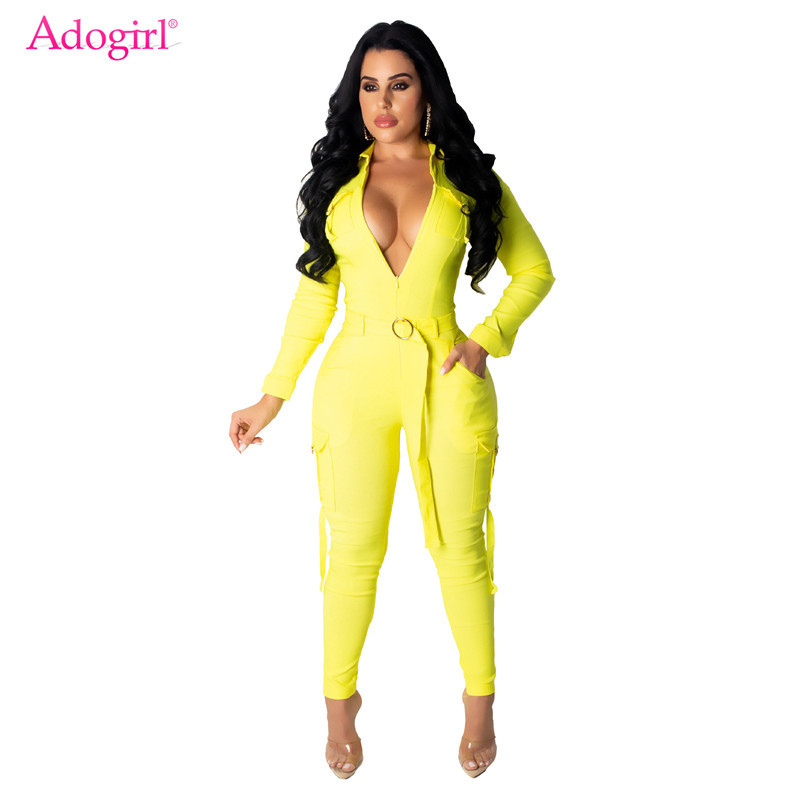 Adogirl Solid Multi Pockets Casual Jumpsuit Women Overalls Turn Down Collar Zipper V Neck Long Sleeve Skinny Romper Tracksuit