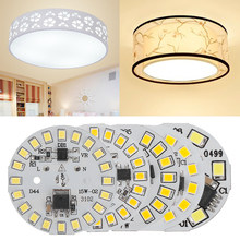1PC Smart IC Driver LED Chip Light Plate Floodlight Beads 2835 SMD Plate Lamp AC220V Round 3/5/6/7/9/12/15 Watt Warm White/White(China)