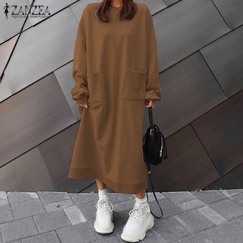 2020 Autumn Long Sleeve Long Sweatshirt Dress ZANZEA Women Casual Vestidos Solid Pockets Long Pullover Female Robe Plus Size(China)