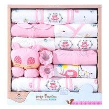 18 יחידות\חבילה יילוד תינוקת בגדי סטים 100% כותנה תינוקות תינוקת סט רך סתיו תינוק בני בגדים פעוט תינוק כובע סינר