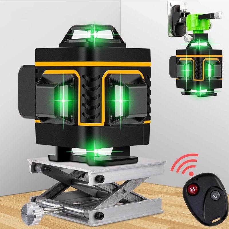 16 линий 4D зеленый лазерный уровень самонивелирующийся беспроводной пульт дистанционного управления 360 Горизонтальные и вертикальные попе...