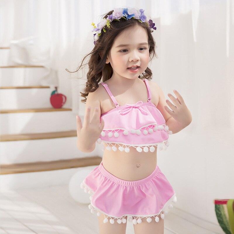 KID'S Swimwear Baby Girls Split Skirt-Tour Bathing Suit Cute Furry Ball-Baby Bikini Piece Swimwear