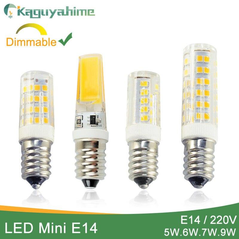 Kaguyahime lâmpada led e14, regulável mini, cerâmica, cob e14, 220 v, lâmpada led, e14, 5 w, 6 w e 7 w vela holofote lâmpada ampola bombilla, 9 w