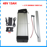 Free customs duty 750W 48v 13ah battery 48V lithium ion battery 13AH silver fish Battery use 3.7V 2600mah cell 54.6V 2A Charger