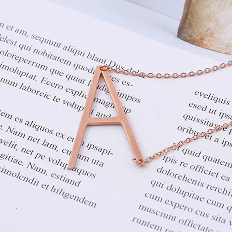 エレガントな 26 手紙ネックレスペンダントアルファベット 3 色ステンレス鋼のチョーカー初期ネックレス女性ガールジュエリーチェーン