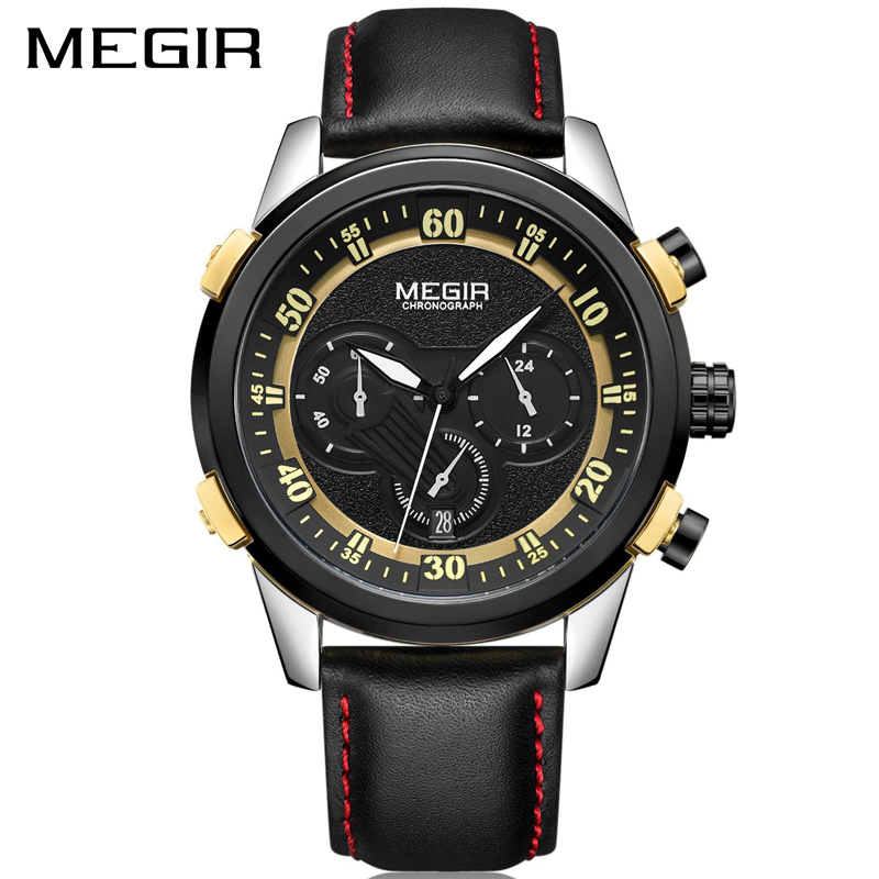 Man Clock Sports-Watches MEGIR Men Chronograph Military Luminous Luxury Brand Quartz