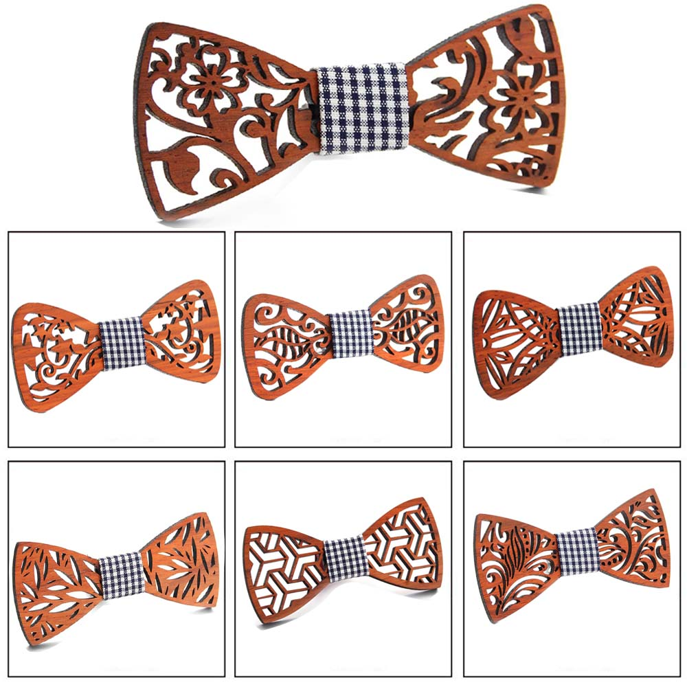 New Floral Wood Bow Ties For Men Bowtie Hollow Butterflies Wedding Suit Wooden Bowtie Shirt Krawatte Bowknots Slim Tie