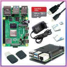 Originele Raspberry Pi 4 Modell B 2GB 4GB 8GB Kit + Aluminium Fall + 3A Schalter Power + HDMI-kompatibel + Option 64 32GB SD Karte