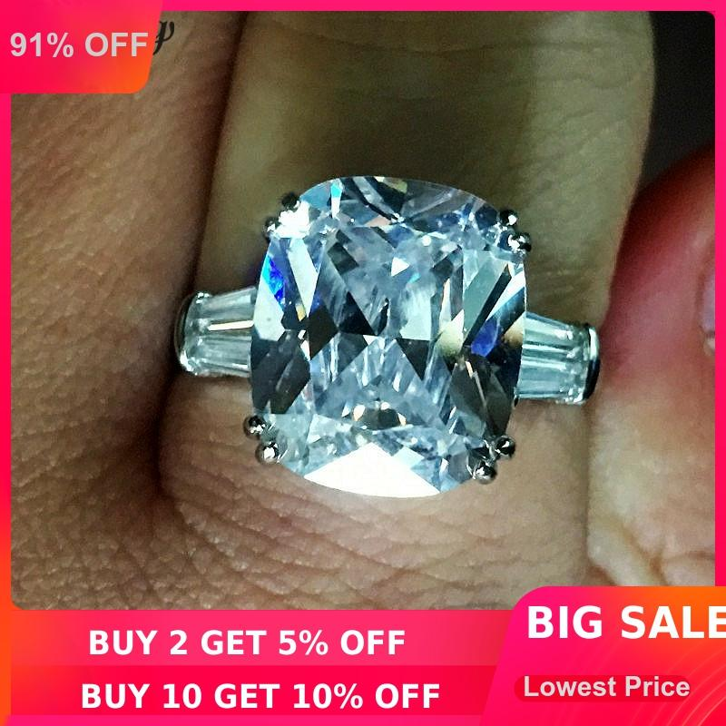Statement Ring 925 Sterling Silver Cubic Zircon Aqua Cubic Zirconia Size 5 Ct 2