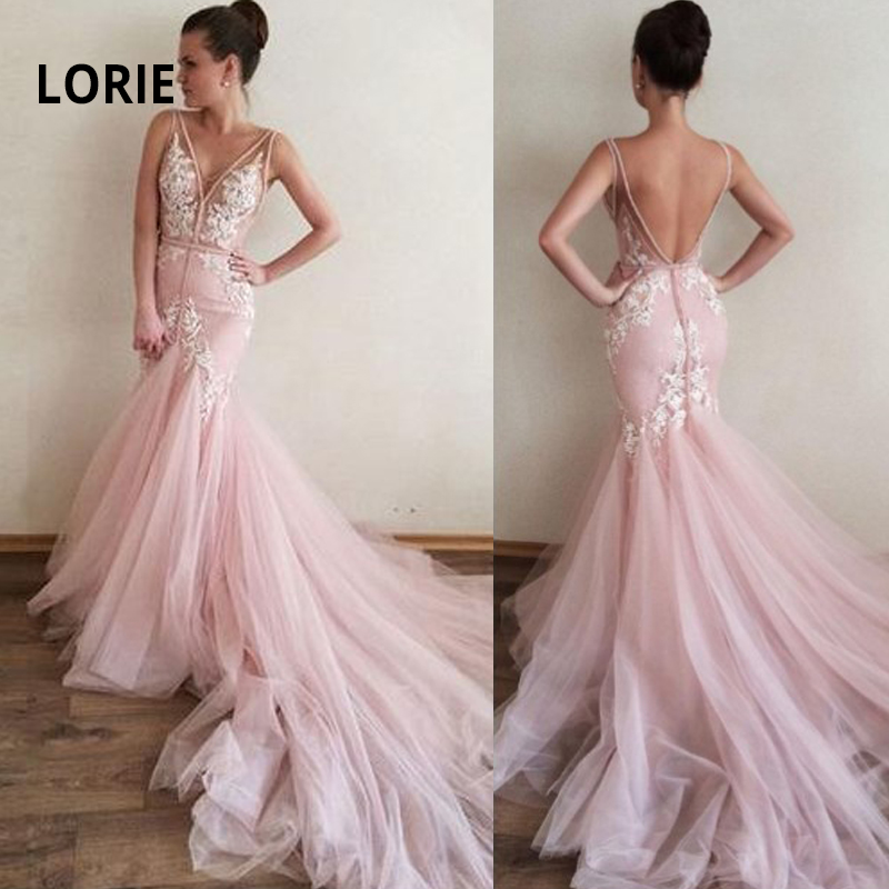 LORIE Elegant Lace Appliqued With Tulle Pink Wedding Dress Mermaid Bride Gown Sexy V-neck Backless Beach Boho Vestido De Noiva