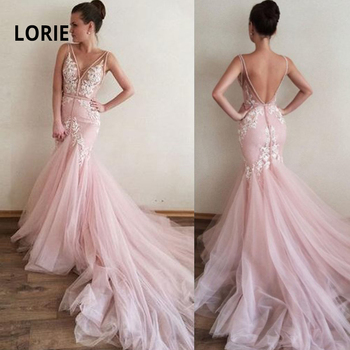 цена на LORIE Elegant Lace Appliqued with Tulle Pink Wedding Dress Mermaid Bride Gown Sexy V-neck Backless Beach Boho Vestido De Noiva