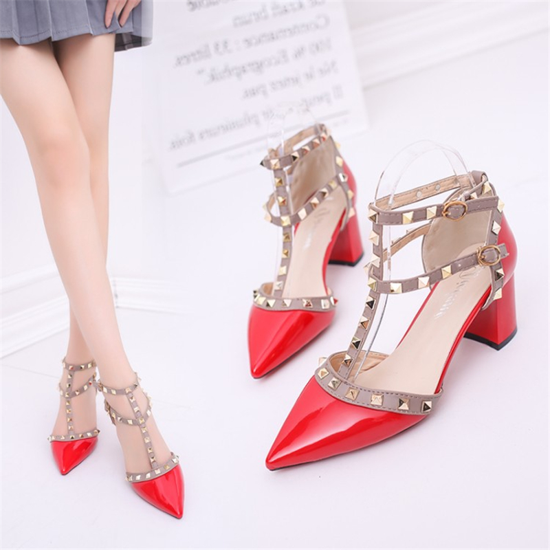 Women's shoes 2021 summer sandals pointed patent leather rivet buckle sandals thick with heel wild thin